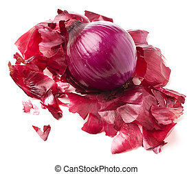 peeled onion isolated on a white background