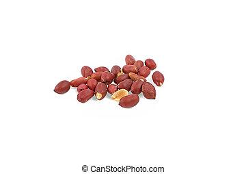 Peeled peanuts peeled isolated on white background