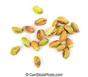 peeled pistachios on a white background