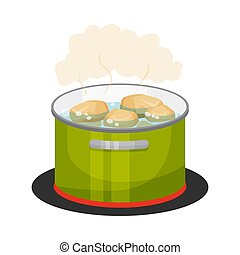 Peeled Potatoes Boiling in Cooking Pot Vector Illustration