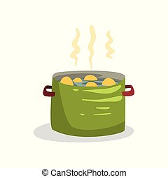 Peeled potatoes cooking in boiling water vector Illustration on a white background