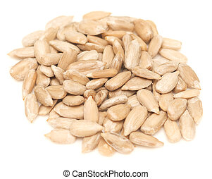 peeled sunflower seeds isolated on a white background