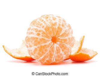 Peeled tangerine or mandarin fruit isolated on white...