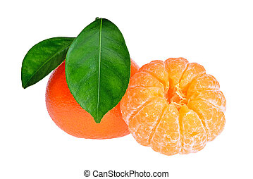 Peeled tangerine or mandarin fruit isolated on white background