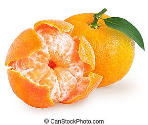 Peeled tangerine or mandarin fruit isolated
