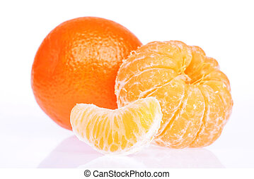 Peeled tangerine or mandarin fruit on white background