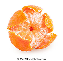Peeled tangerine or mandarin fruit isolated