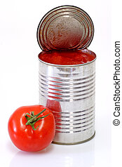 Can of peeled tomatoes on bright background