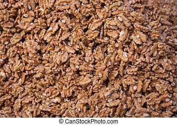 Peeled Walnuts without shell heap pattern as organic food background