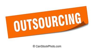 peeler, teken., outsourcing, sticker., plein, outsourcing.