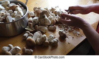 Peeling and cutting boletus mushrooms - Woman peeling and...