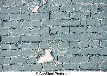 Peeling Blue Paint on Old Brick Wall