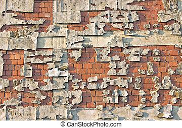 Peeling facade brick wall as background