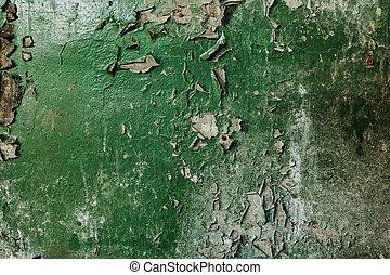 Peeling green paint background