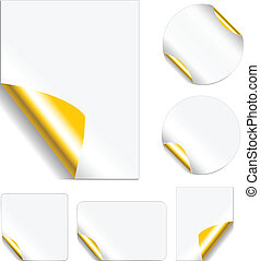 Peeling Metallic Stickers - Blank, realistic vector stickers...