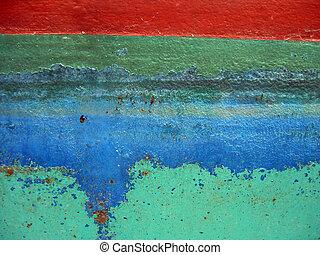 Peeling paint on steel boat hull in Muskoka, Ontario, Canada