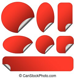 Peeling red stickers set with metallic back side. Set of 9 shapes