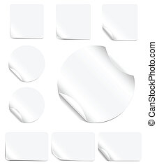 Blank, realistic vector stickers with peeling corners.