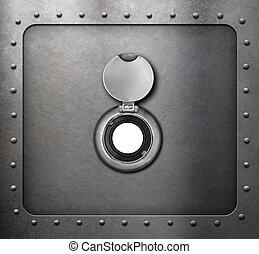 peephole on metal armored door 3d illustration - peephole on...