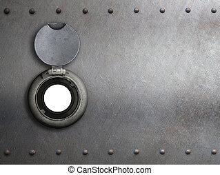 peephole on metal armored door closeup