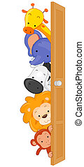 Peeping Animals - Illustration of Zoo Animals Peeping From...