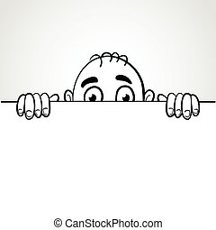 Peeping - Line art illustration of a man peep from the white...