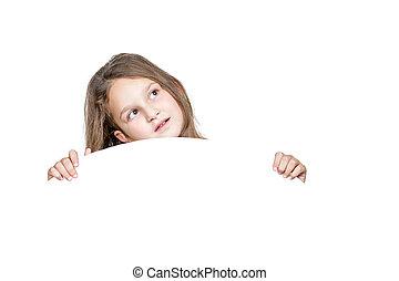 peeping, meisje, achter, witte , ronde, paneel