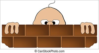 Peeping Tom - A cartoon man looking over a brick wall over...