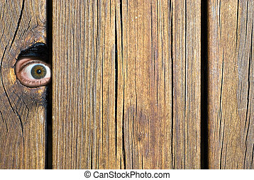Peeping tom - Person looking through a hole in a fence