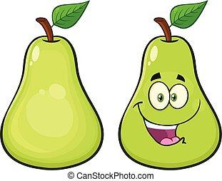 peer, fruit, met, groen blad, spotprent, mascotte, karakter, set, 1.vector, verzameling