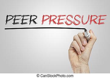 Peer pressure written on a white board