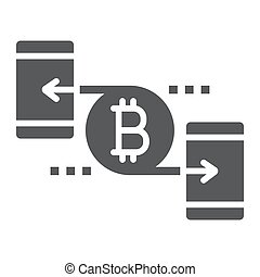 Peer to peer glyph icon, money and finance, bitcoin sign, vector graphics, a solid pattern on a white background, eps 10.