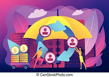 Individuals pool their premiums together to insure against a risk. Peer-to-Peer insurance, P2P collaborative risk, new social insurance concept. Bright vibrant violet vector isolated illustration