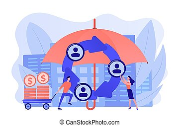 Individuals pool their premiums together to insure against a risk. Peer-to-Peer insurance, P2P collaborative risk, new social insurance concept. Pinkish coral bluevector isolated illustration