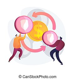 Peer to peer insurance model. Collaborative consumption, policyholders cooperation, P2P digital insurers service. Partners sharing liability insurance. Vector isolated concept metaphor illustration