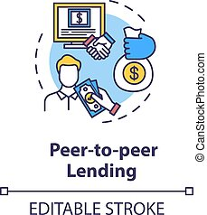 Peer to peer lending concept icon. Campaign to raise money. Online crowd funding for business project idea thin line illustration. Vector isolated outline RGB color drawing. Editable stroke