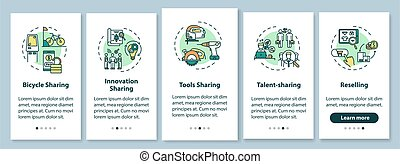 Peer to peer lending onboarding mobile app page screen with concepts. Goods and services sharing walkthrough five steps graphic instructions. UI vector template with RGB color illustrations