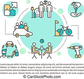 Peer to peer lending services concept icon with text. Carsharing, coworking and property rental. PPT page vector template. Brochure, magazine, booklet design element with linear illustrations