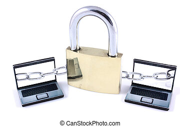 Peer to peer network security - Padlock with tow laptops on...