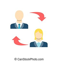 Peer to Peer Concept, Person, People, Avatar, Man, Woman Flat Related Vector Icon. Isolated on White Background.