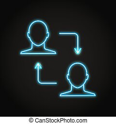 Peer to peer transaction icon in neon style. Person to person transfer symbol. Vector illustration.