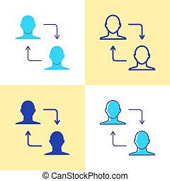 Peer to peer transaction icon set in flat and line style Person to person transfer symbol. Vector illustration.