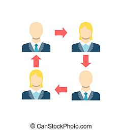 Peer to Peer Concept, Person, People, Avatar, Man, Woman Flat Vector Icon. Isolated on White Background.