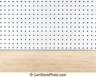 Peg Board - A close up shot of a workshop peg board