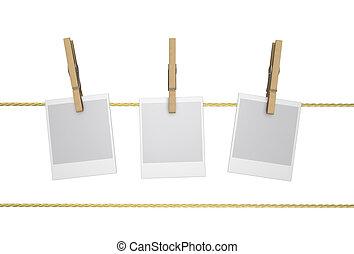 Peg - Wood Clothespin and Polaroid, - Polaroid snapshots...