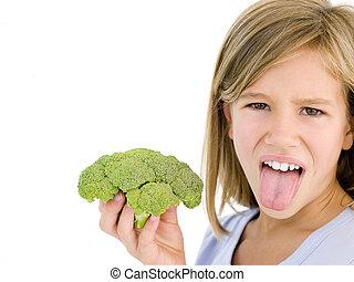 pega, joven, bróculi, tenencia, niña, hombre fuera de lengua