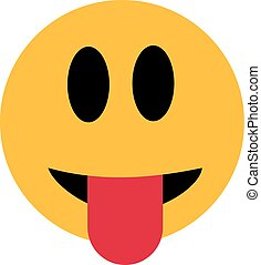 pega, lengua, smiley, afuera