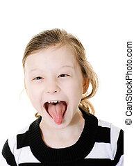 pega, niña, lengua, ella, afuera