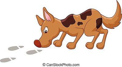 pegada, caricatura, cão, cheirar
