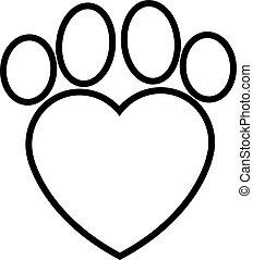 pegada, coração, animal